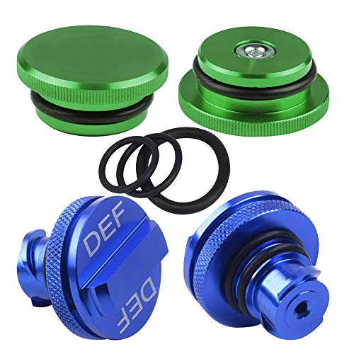 HKOO Fuel Cap for Dodge, Billet Aluminum Green Fuel Cap Magnetic and Blue DEF Cap for 2013-2018 Dodge Ram Truck 1500 2500 3500 with Easy Grip Design (Standard Grip)