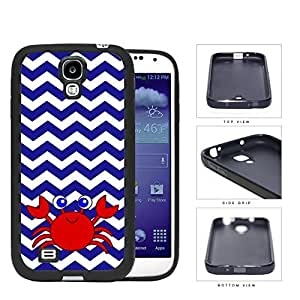 Cute Red Crab And Blue Chevron Rubber Silicone TPU Cell Phone Case Samsung Galaxy S4 SIV I9500