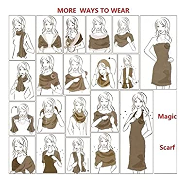 Magic Multi-Wear Scarf Uscharm Reversible Cold Weather Scarves Convertible Pashmina Shawl Wrap Scarves Elegant Colors
