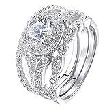 Slendima 3Pcs Fashion Cubic Zircon Rhinestone Ring Set Women Wedding Bridal Party Jewelry Gift US 10