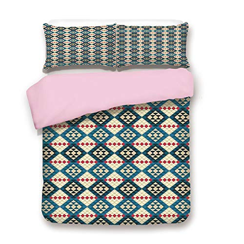 iPrint Pink Duvet Cover Set,Queen Size,Ethnic Braided Carpet View Mosaic Tribal Design,Decorative 3 Piece Bedding Set with 2 Pillow Sham,Best Gift for Girls Women, -