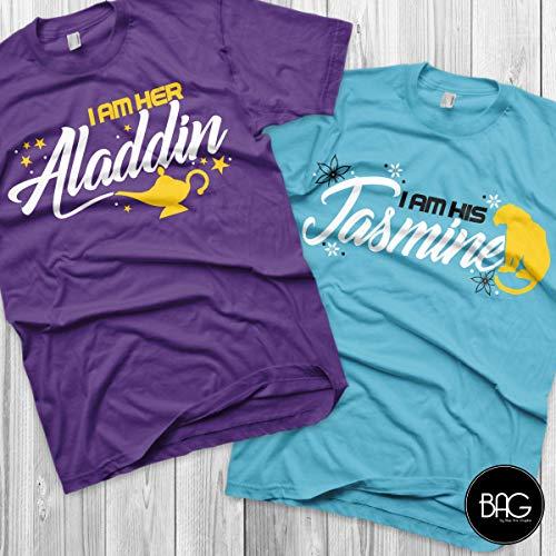 Aladdin and Jasmine Disney Couples Shirts Aladdin Custom Matching Shirts Couple T-shirts vacation shirts