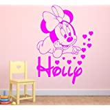 Personalised Baby Minnie Mouse vinyl wall art sticker, 4 sizes 16 colour - mm3 (X Large 100 x 60 cm)