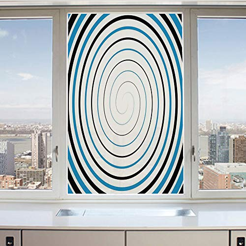 (3D Decorative Privacy Window Films,Double Spiral Pattern Emanates from One Point Turns around Axis Retro Image,No-Glue Self Static Cling Glass film for Home Bedroom Bathroom Kitchen Office 17.5x36 Inc)