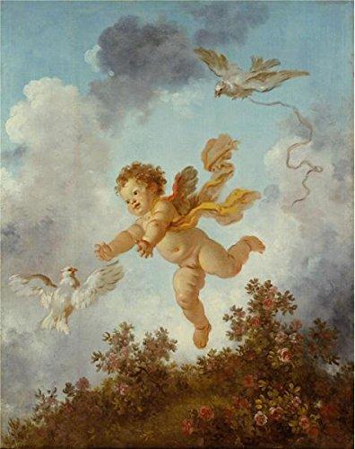 フラゴナール–The Progress of Love–Love Pursuing a Dove、1790–91`油絵、18x 23インチ/ 46x 58cm、の印刷ポリエステルキャンバス、この高解像度アート装飾プリントキャンバスは、ジムの装飾、ホームとギフトにピッタリの商品画像