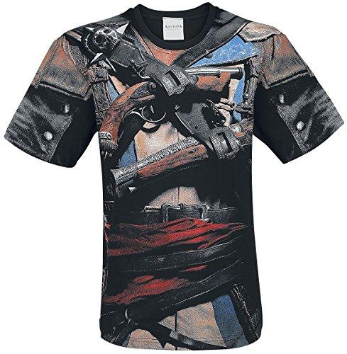 Spiral - Assassins Creed IV Black Flag - Allover Licensed T-Shirt Black (Medium)