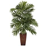 Nearly Natural 6675 Areca Palm with Bamboo Vase Decorative Silk Plant, Green