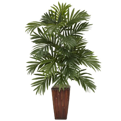 Silk Areca Palm Artificial Tree - Nearly Natural 6675 Areca Palm with Bamboo Vase Decorative Silk Plant, Green