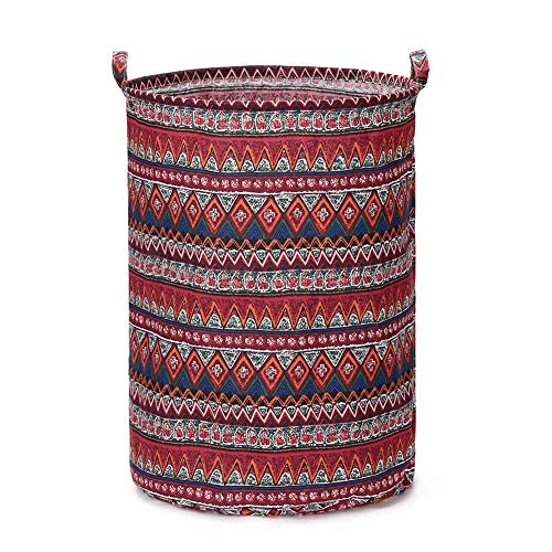 (Every Deco Cylinder Round Single Fabric Plastic Frame Laundry Basket Hamper Storage Bin Organization Collapsible Foldable Toys Clothes - 22