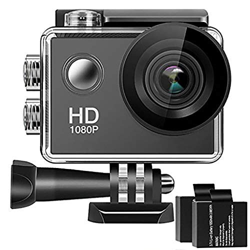 (QUICATCH Full HD 1080P 170° Wide Angle Lens 4K Full HD 2 Inch LCD 98Ft Waterproof Screen Action Camera with 2 Rechargeable Batteries)
