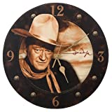"Vandor 15189 John Wayne 13.5"" Cordless Wood Wall Clock, Multicolor"