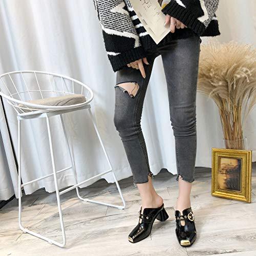 femmes à antidérapantes bout Zyueer carré Chaussures carrées talons , Mode à noires Chaussures hauts pour féminine Sandales FqOwIO5xR
