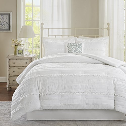 5 Piece Comforter Set, White, Queen ()