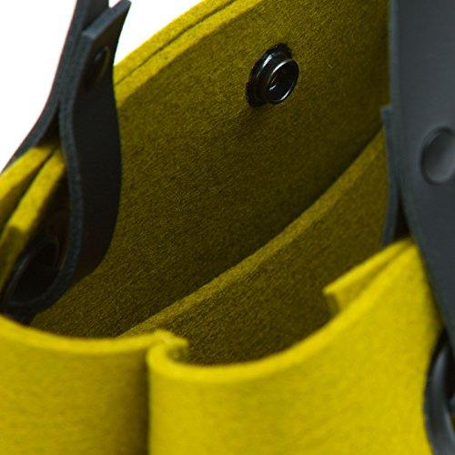 Kleine Tasche + Leder Tragegriffe viele Farben Hey Sign MIA, Hey Sign_Farbe:08 - Graphit 301563108 20 - Mango