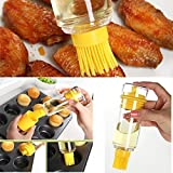 KINGZHUO Kitchen BBQ Brushes Bakeware Tools High Temperature Resistant with Oil Bottle Silicone Brush Multifunctional High Temperature Resistant Dual Purpose Brush