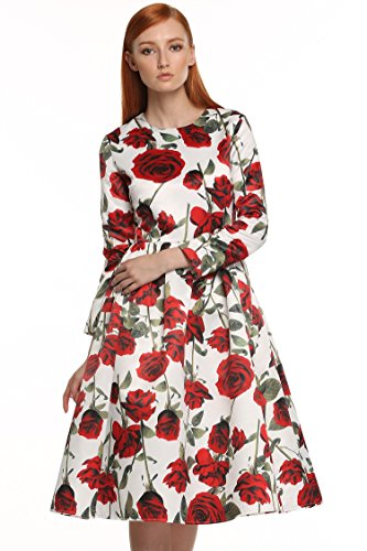 ACEVOG-Vintage-1950s-Floral-Spring-Party-Picnic-Dress-Party-Cocktail-Dress