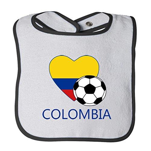 (Cute Rascals Love Soccer Heart Colombia #2 Tot Contrast Trim Terry Bib White/Black)