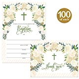 Baby Baptism Invitations & Matching Thank You Notes ( 100 of Each ) with Envelopes, Large Party Celebration 5 x 7'' Fill-in Invites & Folded Thank You Cards Infant Church Christening Best Value Pair