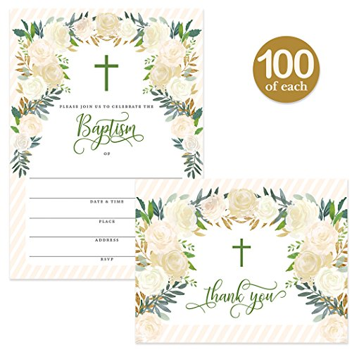 Baby Baptism Invitations & Matching Thank You Notes ( 100 of Each ) with Envelopes, Large Party Celebration 5 x 7'' Fill-in Invites & Folded Thank You Cards Infant Church Christening Best Value Pair by Digibuddha