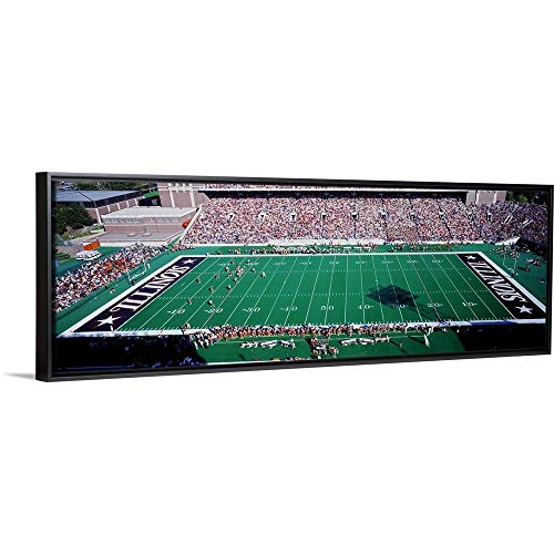 Floating Frame Premium Canvas with Black Frame Wall Art Print Entitled Illinois, Champaign, Memorial Stadium ()