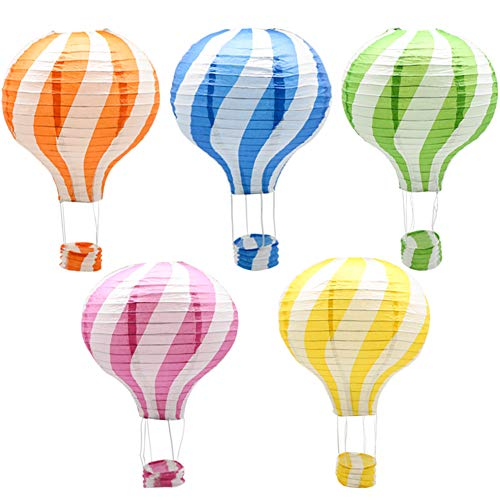 Hanging Hot Air Balloon Paper Lanterns Set, Party Decoration Birthday Wedding Christmas Party Decor Gift, 12 inch, Pack of 5 Pieces -