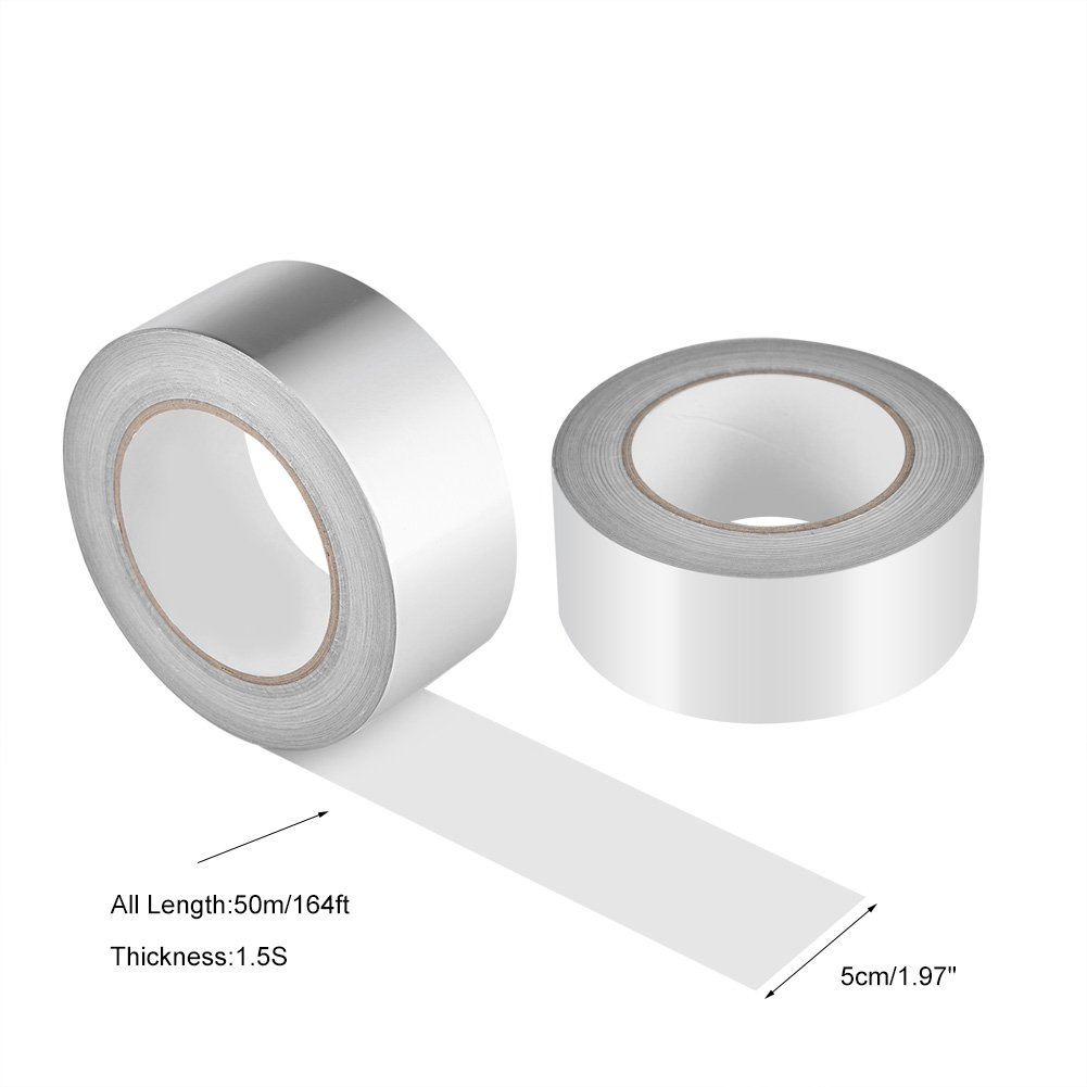 Zerodis 2'' x 164ft Silver Aluminium Foil Tape Adhesive Sealing Heat Shield Tape for Duct Metal Repair Insulation by Zerodis (Image #5)