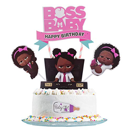 Boss Baby Cake Topper, Boss Baby Happy Birthday Cake Topper, Birthday Party Baby Shower Cake Decorative Supplies (Girl) (Edible Cake Toppers Baby Shower)