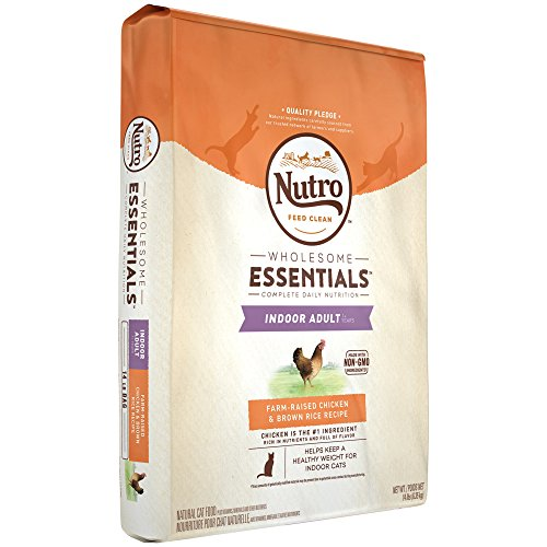 NUTRO WHOLESOME ESSENTIALS Indoor Adult Farm-Raised Chicken & Brown Rice Recipe Dry Cat Food, 14 Pounds; Rich in Nutrients and Full of Flavor; Supports a Healthy Weight & Healthy Skin and Coat