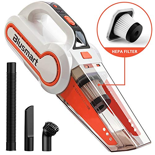 Blusmart Handheld Vacuum Cordless, Wet/Dry Vacuum Cleaner Rechargeable 12V 120W with HEPA Filter, LED Light & Full Accessory Kit - Wet Light Vacuums