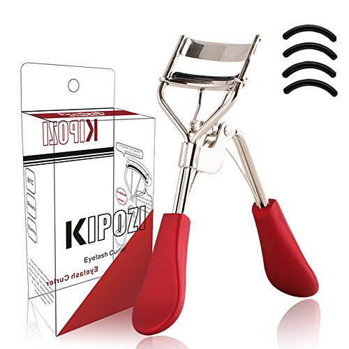 KIPOZI Eyelash Curler, Professional Lash Curler with 4 Refills Pads, Long Lasting and Natural Curling, No Pinching, Fits All Eye Shapes Get Gorgeous Eyelashes in Seconds