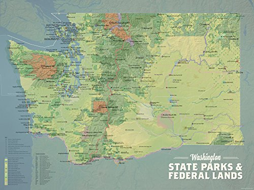 Best Maps Ever Washington State Parks & Federal Lands Map 18x24 Poster (Natural Earth) (Bellingham Wa Map Of)