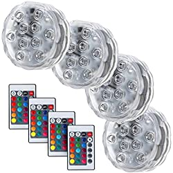 Submersible LED Lights, 10 RGB LEDs, 16 Colors Changing Waterproof Underwater Lights, Battery Powered with IR Remote Controller for Fish Tank Vase Base Hot Tub Aquarium Wedding Party - 4 Pack