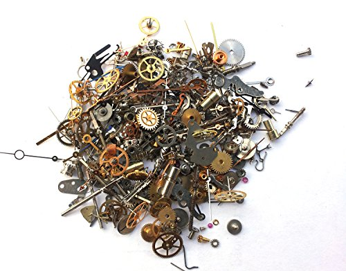 Steampunk Watch Pieces and Parts - 300 plus pieces of TEENY TINY VINTAGE gears, cogs, wheels, hands, crowns, stems, etc. (Gears Vintage)