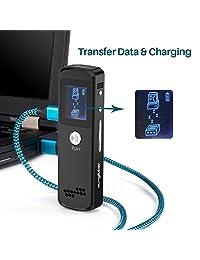 Grabadora de voz, sungluber 16 GB Auto ahorro de Lima a batería baja grabadora de voz activado con sello de tiempo dictáfono grabador de audio de sonido para reuniones conferencias