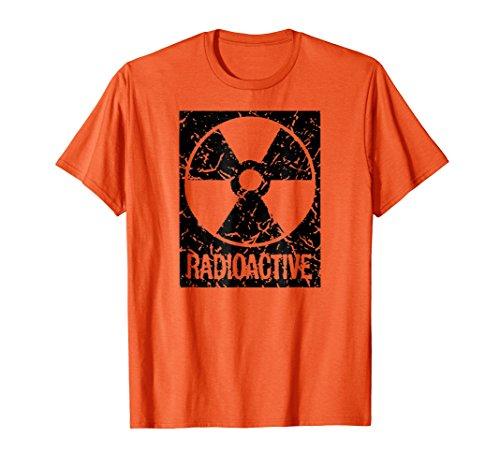Mens Funny Vintage Distressed Radioactive symbol Halloween shirt Small Orange -