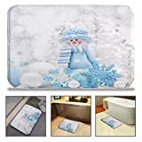 QIYI Bath Mat Rug Super Soft Non-Slip Machine Washable Quickly Drying Antibacterial,For Office Door Mat,Kitchen Dining Living Hallway Bathroom 16'' W x 24'' L (40 x 60 CM) -Blue Hat Snowman