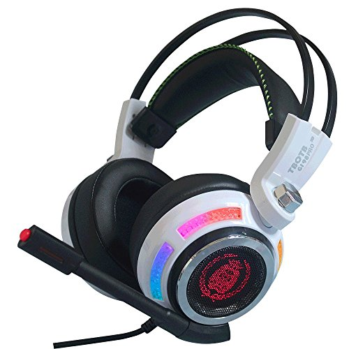 7.1 Multichannel Sound Effect GAMING Gaming Headset Over Ear Stereo USB Headphone with Microphone Noise Isolating For PC MAC (White-98)