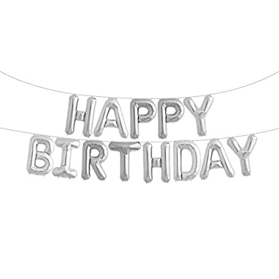 Happy Birthday Balloons Foil Letters Mylar Balloons Silver: Toys & Games