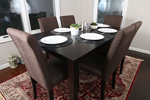 7 pc Espresso Linen Brown 6 Person Table and Chairs Brown Di