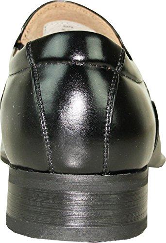 Coronado Mens Robe Chaussure Rafe Pointy Moc Toe Sangle Supérieure Mocassin Avec Doublure En Cuir Noir