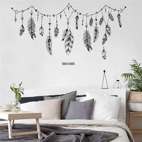 Plane Wall Stickers,TPTPT Creative Design Modern Minimalist Style Feather Wall Stickers for Doors and Windows/Kitchen/Living room/Office (A)