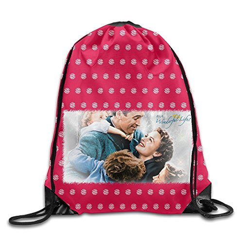 EUNICORN SG Its A Wonderful Life Snapback Gym Sack Bag Drawstring Backpack Sport Bag White