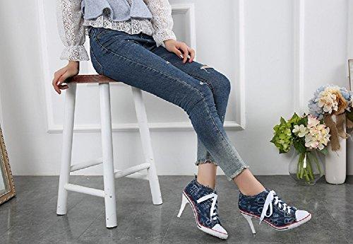 Women's Fashion Shoes Heeled Canvas D Sneaker High Cowboy blue Pump JiYe H17Tqq
