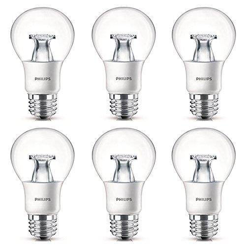 Philips LED Non-Dimmable A19 Clear Light Bulb: 800-Lumen, 2700-Kelvin, 8.5-Watt (60-Watt Equivalent), E26 Base, Soft White, 6-Pack 800 Clear Lamps