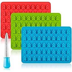 Caramelo de silicona Moldes & Ice Cube bandejas, SENHAI 3 Pack pastilla de goma Jelly moldes, moldes de chocolate, jabón Moldes
