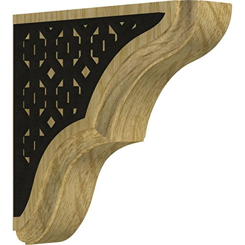 Ekena Millwork BKTW02X06X06STVIBLRO Stratford Wood Bracket with Ironcraft Victorian Inlay, 1 3/4