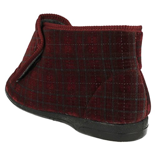 Mens Balmoral Boot Slippers 'Thomas' Burgundy (Red) wllAJwI