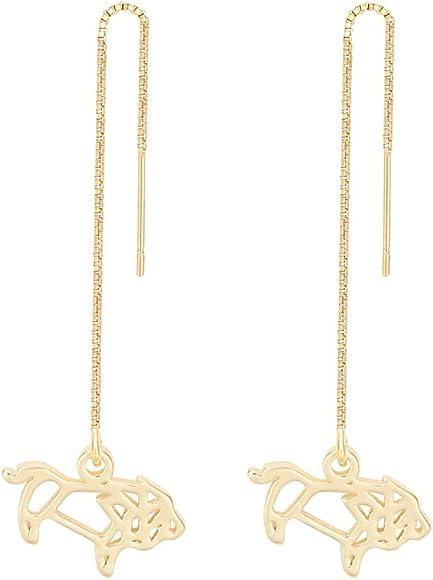 Fashion Minimalist Gold and Silver Lion Metal Chain Tassel Earrings Elegant Earrings Jewelry
