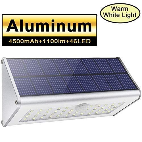 Luces de pared solar de seguridad al aire libre Licwshi 1100lm 46 LED 4500mAh Aleación de aluminio de plata Sensor de movimiento infrarrojo para jardín calle valla Luz blanca cálida