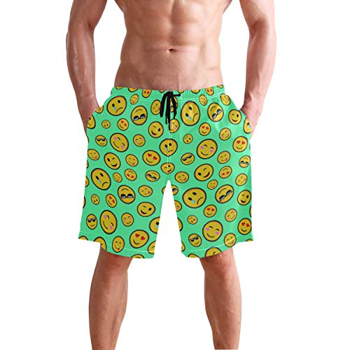 Men's Beach Swim Trunks Emoji Smiley Face Boxer Swimsuit Underwear Board Shorts with - Boxer Face Smiley
